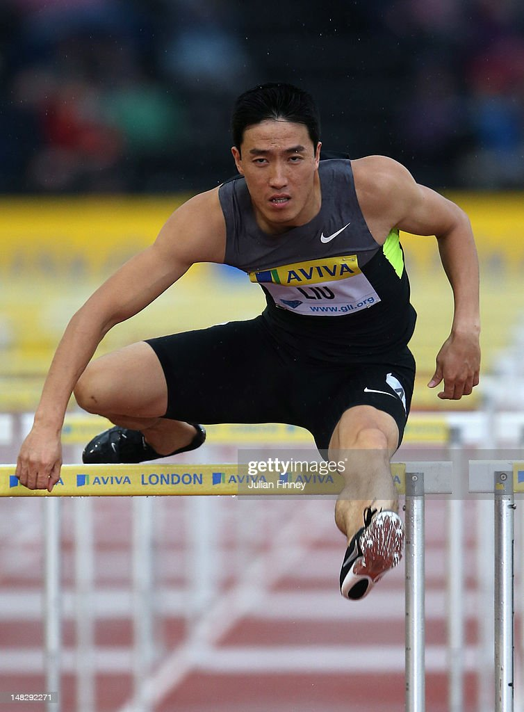 Liu Xiang of China in action in the 110m hurdles during day one of the Aviva London Grand Prix at Crystal Palace on July 13, 2012 in London, England.