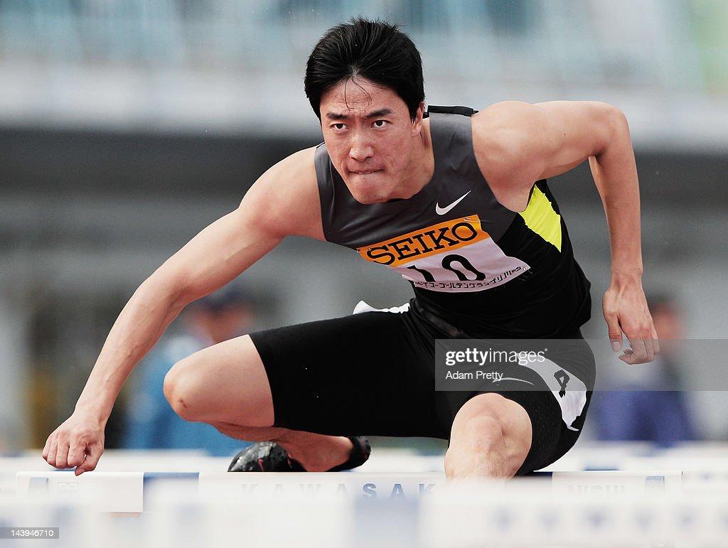 Liu Xiang of China on his way to victory in the mens 110m hurdles during the Seiko Golden Grand Prix In Kawasaki at Todoroki Stadium on May 6, 2012 in Kawasaki, Japan.