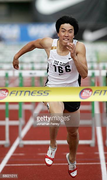 Liu Xiang runs to victory in the Men's 110m Hurdles during the 2005 Nike Prefontaine Classic Grand Prix on June 4 2005 at Hayward Field in Eugene...