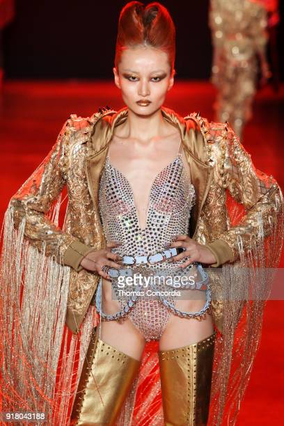 Liu Xu walks the runway wearing The Blonds Fall 2018 Collection with makeup by Kabuki Magic and the MAC Pro team hair by Kien Hoang and Oribe Hair...