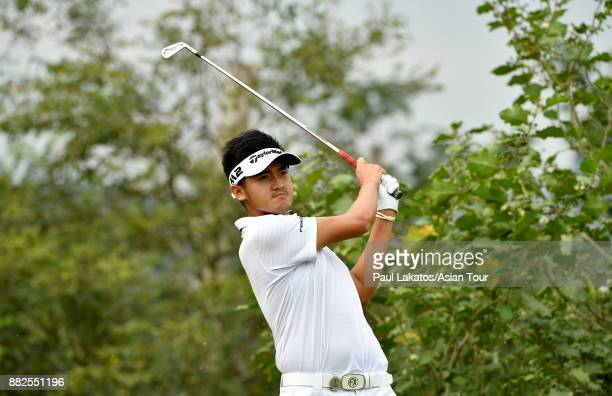 Liu Yan wei of China plays a shot during round one of the KG SH CITY Asian Golf Championship at Kaikou Golf Club on November 30 2017 in Xiamen China