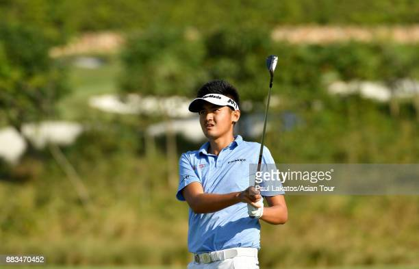 Liu Yan wei of China plays a shot during round two of the KG SH CITY Asian Golf Championship at Kaikou Golf Club on December 1 2017 in Xiamen China