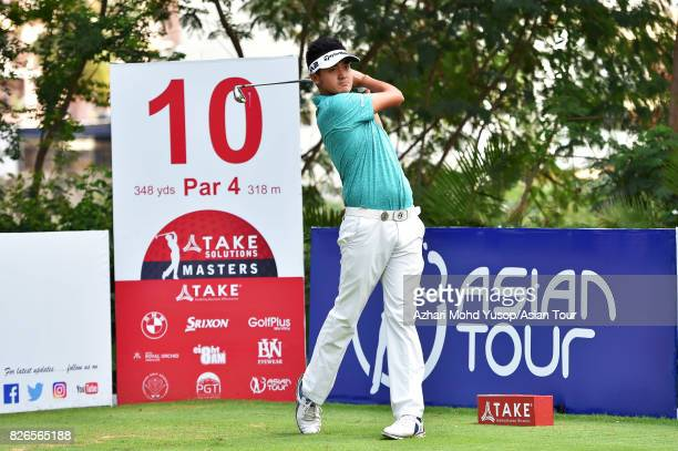 Liu Yan Wei of CHN plays a shot during practice ahead of the TAKE SolutLiu Yan Weiions Masters at Karnataka Golf Association Golf Course on August 1...