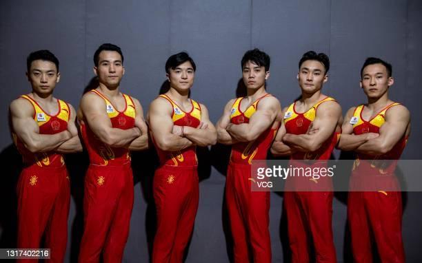 Liu Yang, Deng Shudi, Zou Jingyuan, Lin Chaopan, Sun Wei and Xiao Ruoteng of China national men's gymnastics team pose for a portrait in 2021 in...