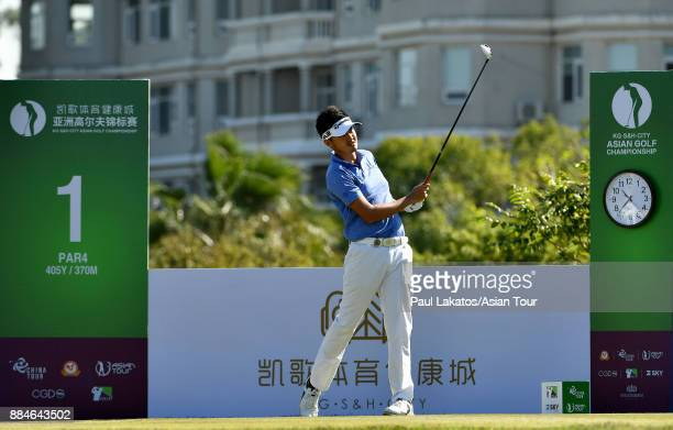 Liu Yanwei of China plays a shot during round four of the KG SH CITY Asian Golf Championship at Kaikou Golf Club on December 3 2017 in Xiamen China