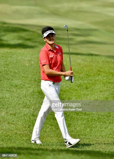 Liu Yanwei of China plays a shot during round three of the KG SH CITY Asian Golf Championship at Kaikou Golf Club on December 2 2017 in Xiamen China