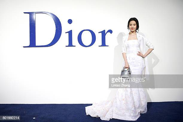 Liu Yifei arrives at Dior SS 2016 Repeat Show at the Phoenix International Media Center on December 19 2015 in Beijing China