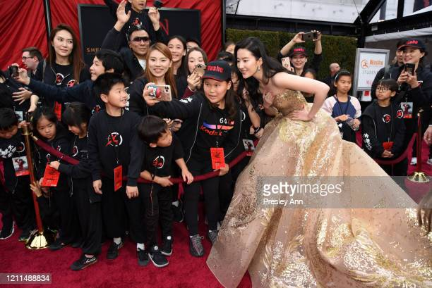 """Liu Yifei attends Disney's """"Mulan"""" World Premiere - Red Carpet - Fan Pen at Dolby Theatre on March 09, 2020 in Hollywood, California."""