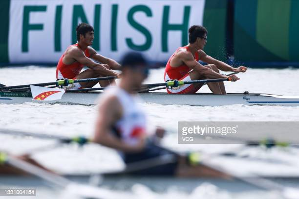 Liu Zhiyu and Zhang Liang of China compete during the Men's Rowing Double Sculls Final on day five of the Tokyo 2020 Olympic Games at Sea Forest...