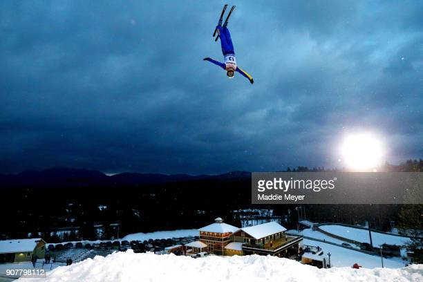 Liu Zhongqing of China trains before the Mens Qualifying round of the Putnam Freestyle World Cup at the Lake Placid Olympic Ski Jumping Complex on...