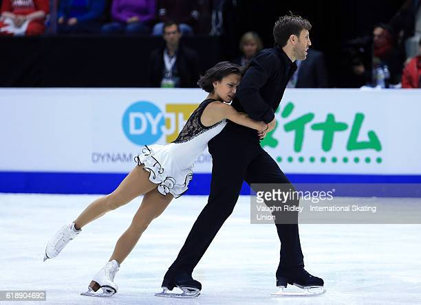 Liubov Ilyushechkina and Dylan Moscovitch of Canada compete in the Pairs Short Program during the ISU Grand Prix of Figure Skating Skate Canada...