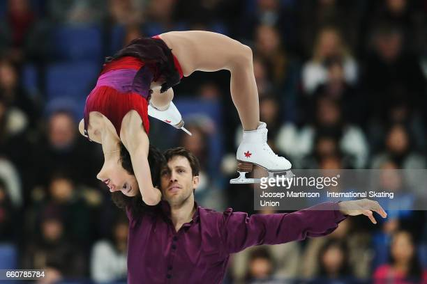 Liubov Ilyushechkina and Dylan Moscovitch of Canada compete in the Pairs Free Skating during day two of the World Figure Skating Championships at...