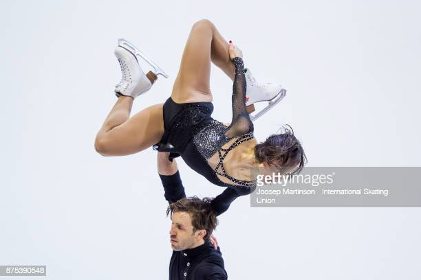 Liubov Ilyushechkina and Dylan Moscovitch of Canada compete in the Pairs Short Program during day one of the ISU Grand Prix of Figure Skating at...