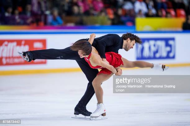 Liubov Ilyushechkina and Dylan Moscovitch of Canada compete in the Pairs Free Skating during day two of the ISU Grand Prix of Figure Skating at...