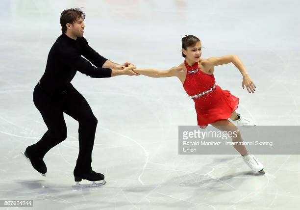 Liubov Ilyushechkina and Dylan Moscovitch of Canada perform in the pairs free skating during the ISU Grand Prix of Figure Skating at Brandt Centre on...