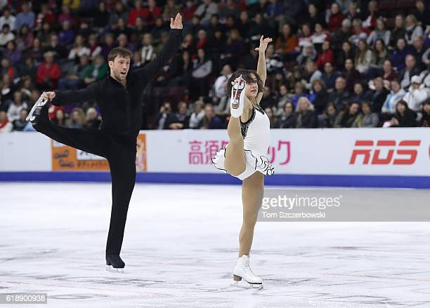 Liubov Ilyushechkina of Canada and Dylan Moscovitch compete in the Pairs Short Program during day one of the 2016 Skate Canada International at...