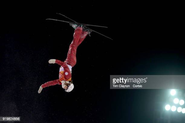 Liubov Nikitina and Olympic Athlete from Russia in action during the Freestyle Skiing Ladies' Aerials Final at Phoenix Snow Park on February16, 2018...