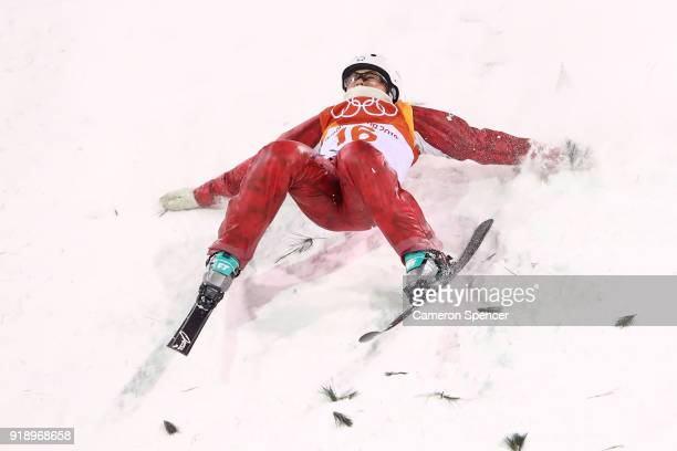 Liubov Nikitina of Olympic Athlete from Russia crashes during the Freestyle Skiing Ladies' Aerials Final on day seven of the PyeongChang 2018 Winter...