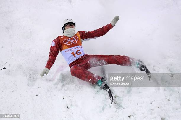 Liubov Nikitina of Olympic Athlete from Russia crashes while training ahead of the Freestyle Skiing Ladies' Aerials Qualification on day six of the...