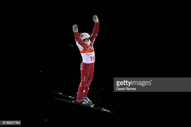 Liubov Nikitina of Olympic Athlete from Russia warms up ahead of the Freestyle Skiing Ladies' Aerials Qualification on day six of the PyeongChang...