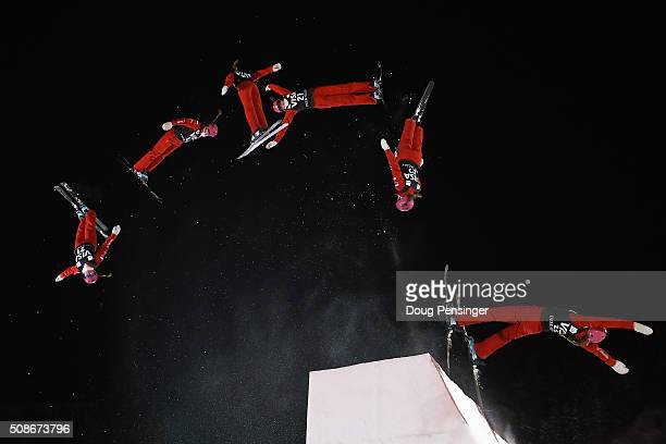 Liubov Nikitina of Russia jumps to sixth place in the ladies' FIS Freestyle Skiing Aerials World Cup at Deer Valley on February 5 2016 in Park City...