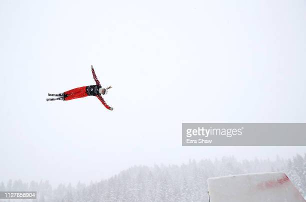 Liubov Nikitina of Russia makes a training jump before the Ladies' Aerials Qualification at the FIS Freestyle Ski World Championships on February 05,...