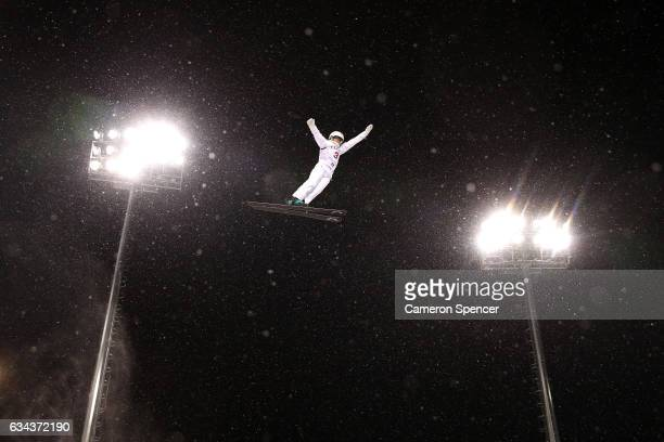Liubov Nikitina of Russia performs an aerial during Aerials training prior to the FIS Freestyle World Cup at Bokwang Snow Park on February 9 2017 in...