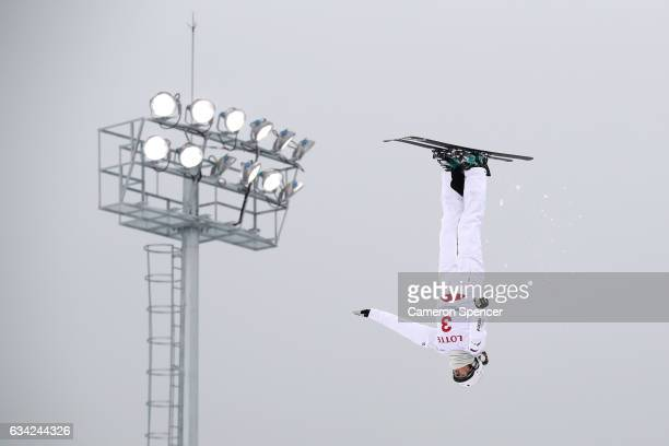 Liubov Nikitina of Russia performs an aerial during an Aerials training session prior to the FIS Freestyle World Cup at Bokwang Snow Park on February...