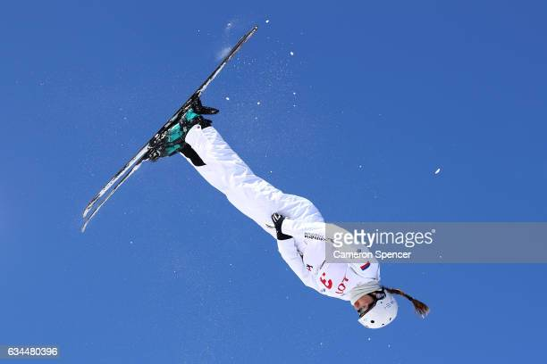 Liubov Nikitina of Russia performs an aerial during qualification in the FIS Freestyle Ski World Cup 2016/17 Ladies Aerials at Bokwang Snow Park on...