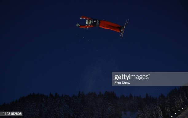 Liubov Nikitina of Russia takes a training jump before the start of the Mixed Team Aerial Finals of the FIS Freestyle Ski World Championships on...