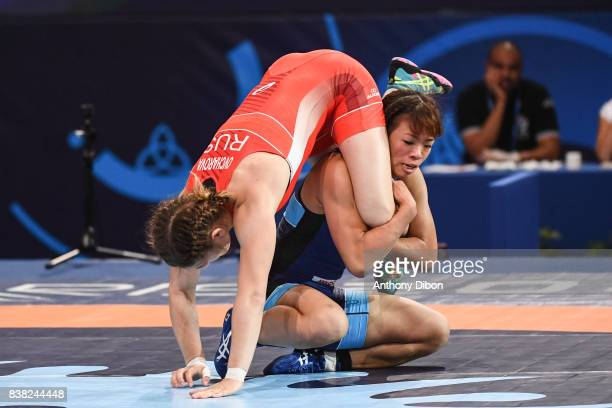 Liubov Ovcharova and Kawai Risako during the female wrestling 60kg competition during the Paris 2017 Women's World Championships at AccorHotels Arena...