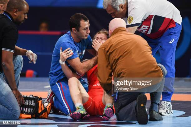 Liubov Ovcharova injured during the female wrestling 60kg competition during the Paris 2017 Women's World Championships at AccorHotels Arena on...