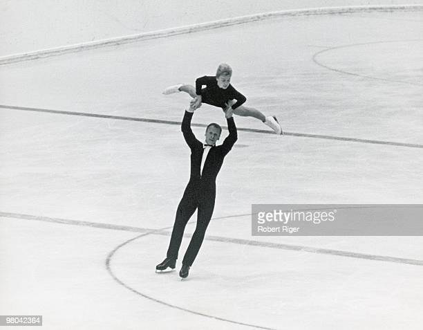 Liudmila Belousova and Oleg Protopopov of the Soviet Union compete in Pairs figure skating at the 1964 Winter Olympics on January 29 1964 in...