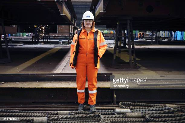 Liudmila Buimister, chief executive officer of GSG Towers Sp. Z o.o., poses for a photograph at the factory in the Gdansk Shipyard, in Gdansk,...