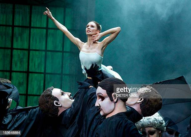 Liudmila Konovalova and members of the ensemble perform during the dress rehearsal of the ballet 'Nutcracker' at the Wiener Staatsoper state opera on...