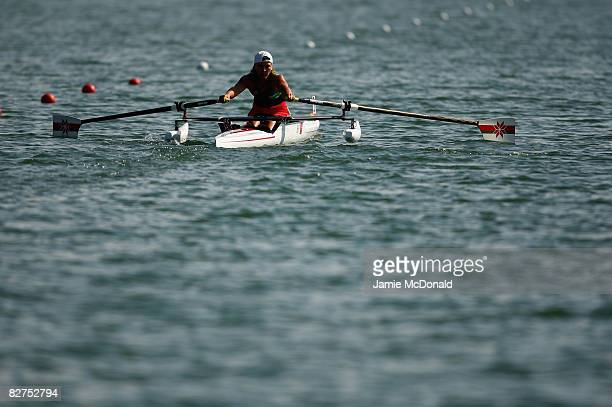 Liudmila Vauchok of Belerus competes in the Women's Single Sculls -A- Rowing event at Shunyi Olympic Rowing-Canoeing Park during day four of the...