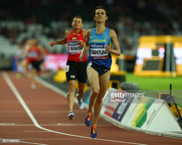 Liudmyia Danylina of Ukraine compete Women's 1500m T20 Final during World Para Athletics Championships Day Three at London Stadium in London on July...