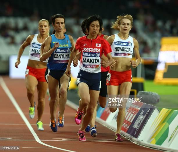 LR Liudmyia Danylina of Ukraine Sayaka Makita of Japen and Barbara Niewiedzial of Poland compete Women's 1500m T20 Final during World Para Athletics...