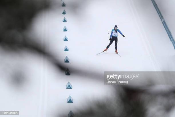 Liudmyla Liashenko of Ukraine in action during Women's 12.5km, Standing in Biathlon during day seven of the PyeongChang 2018 Paralympic Games on...