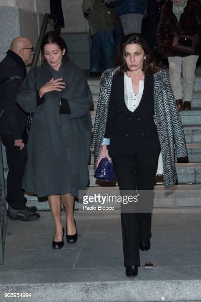 Liuva Toledo and Fabiola Toledo attend the funeral mass for Carmen Franco daughter of the dictator Francisco Franco at the 'Francisco de Borja'...