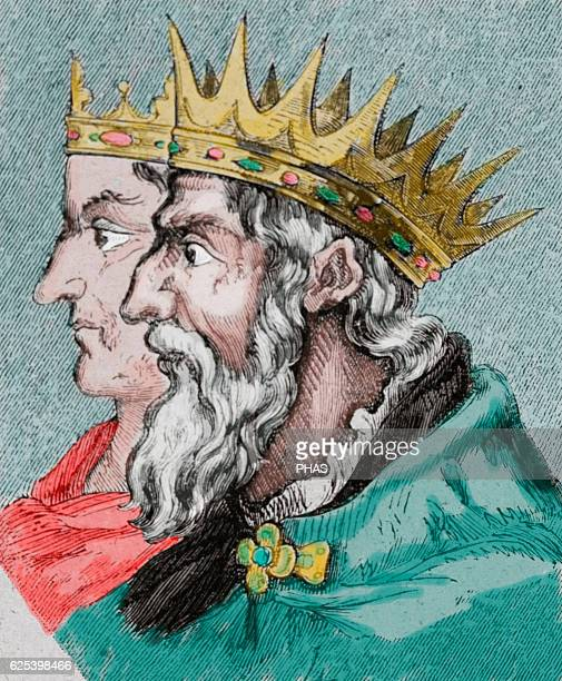 Liuvigild Visigothic King of Hispania and Septimania from 568 585 From 585 he was also king of Galicia Portrait Engraving Colored