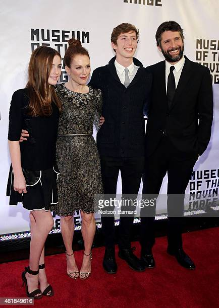 Liv Freundlich Julianne Moore Caleb Freundlich and Bart Freundlich attend the Museum of The Moving Image honors Julianne Moore at 583 Park Avenue on...