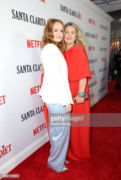 Liv Hewson and Drew Barrymore attend the Santa Clarita Diet season 2 world premiere on March 22 2018 in Hollywood California