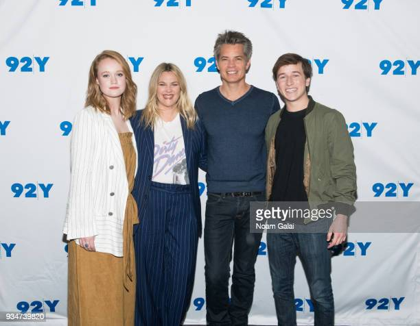 Liv Hewson Drew Barrymore Timothy Olyphant and Skyler Gisondo visit 92nd Street Y to discuss Santa Clarita Diet on March 19 2018 in New York City