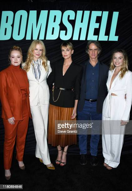 "Liv Hewson, Nicole Kidman, Charlize Theron, Jay Roach, and Margot Robbie attend a special screening of Lionsgate's ""Bombshell"" at Pacific Design..."