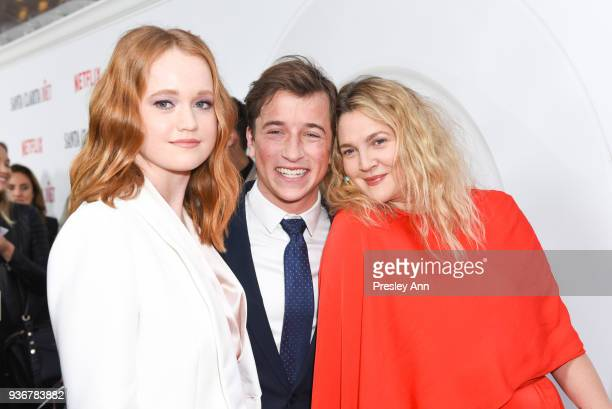 Liv Hewson Skyler Gisondo and Drew Barrymore attend Santa Clarita Diet Season 2 Premiere at ArcLight Hollywood on March 22 2018 in Hollywood...