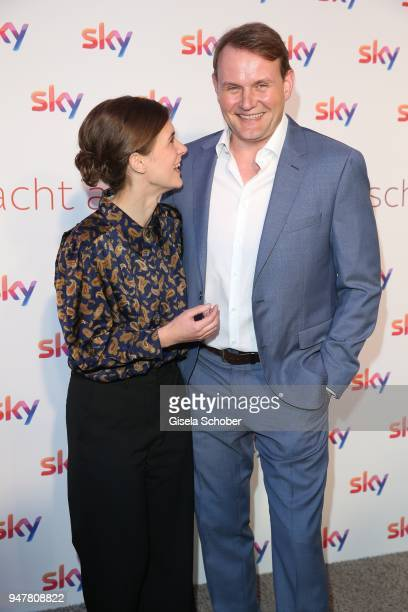 Liv Lisa Fries and Devid Striesow during the launch event for 'Das neue Sky' on April 17 2018 in Munich Germany