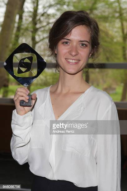 Liv Lisa Fries poses with the award for Babylon Berlin in the category fiction during the 54th Grimme Award on April 13 2018 in Marl Germany