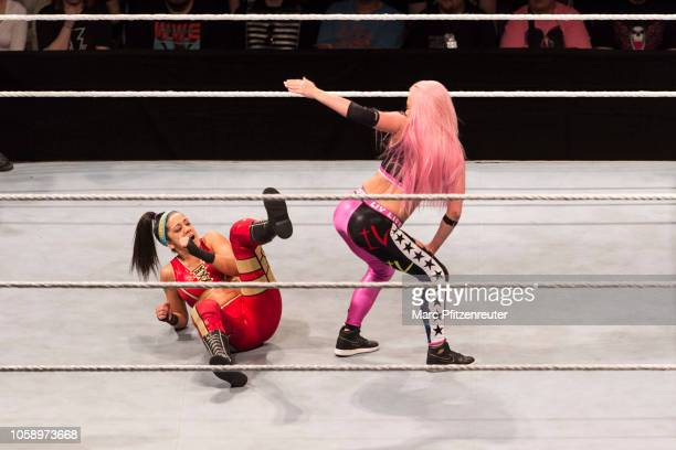 Liv Morgan competes in the ring against Sasha Banks during the WWE Live Show at Lanxess Arena on November 7 2018 in Cologne Germany