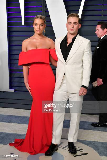 Liv Pollock and Dacre Montgomery attend the 2019 Vanity Fair Oscar Party hosted by Radhika Jones at Wallis Annenberg Center for the Performing Arts...